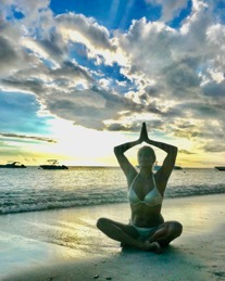 Yoga on the beach in mauritius